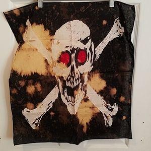 "Skull bones hand dyed custom bandana 21"" new"